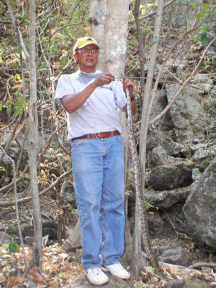 Pastor Dagoberto and visitor  (corn snake) to upper spring; we also have small scorpions in abundance here