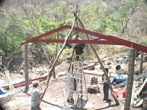 tripod set up used to raise trusses into position